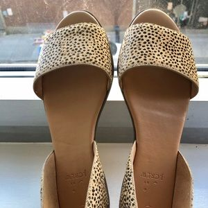 NWOT J. Crew animal print. Open toes ankle wrap.